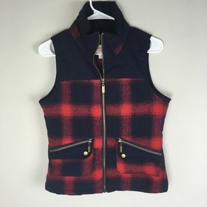 Mossimo Red and Navy Plaid Zip Up Vest